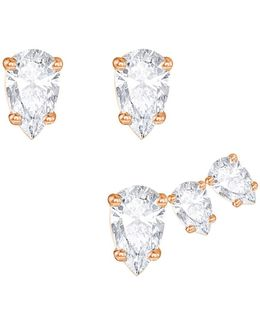 Attract Crystal-studded Earrings/set Of 2
