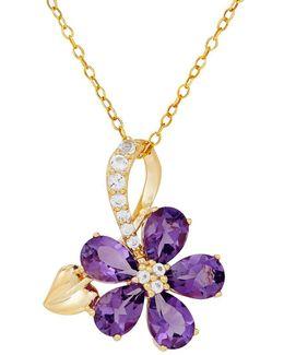 Amethyst, White Topaz & 14k Yellow Gold Necklace