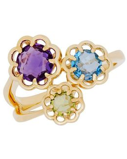 14k Yellow Gold And Multi Stone Flower Ring