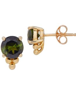 Green Tourmaline & 14k Yellow Gold Stud Earrings