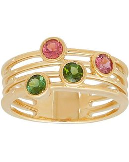 Green And Pink Tourmaline Cutout Ring