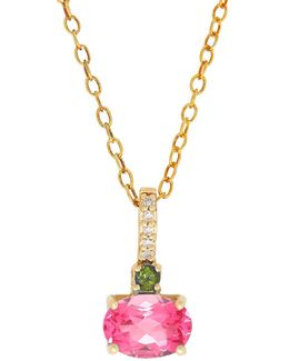 Tourmaline Diamond Pendant Necklace
