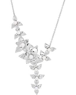 5-5.5mm, 6-6.5mm Pearland Silver Floral Necklace