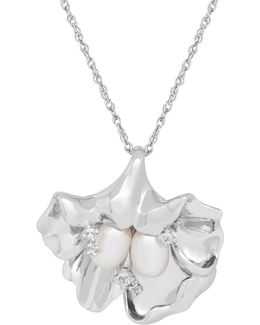 7/5mm Pearl, White Topaz And Silver Top Drilled Floral Pendant Necklace
