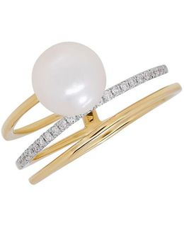 Diamond And 8mm-8.5mm White Freshwater Pearl 14k Yellow Gold Ring