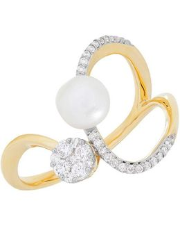 Diamond And 6mm-6.5mm White Freshwater Pearl 14k Yellow Gold Ring