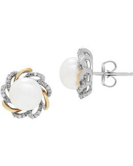 8mm White Button Freshwater Pearl, Diamond, Sterling Silver And 14k Yellow Gold Floral Stud Earrings
