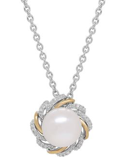 10mm White Button Freshwater Pearl, Diamond, Sterling Silver And 14k Yellow Gold Floral Pendant Necklace