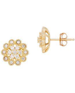 Diamond And 14k Yellow Gold Flower Earrings