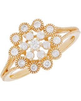 Diamond And 14k Yellow Gold Ring