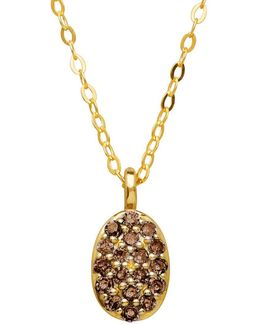 Diamond And 14k Yellow Gold Oval Pendant Necklace