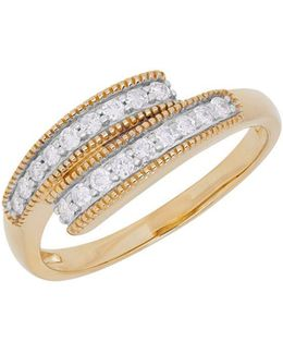 Diamond And 14k Yellow Gold Bypass Ring