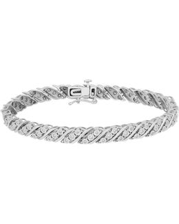 Diamond And 14k White Gold Diaura Link Bracelet