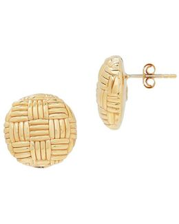 14k Yellow Gold Woven Round Stud Earrings