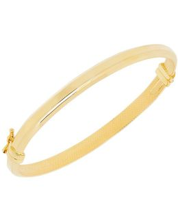 14k Pdc Yellow Gold Weave Cut Flex Bangle Bracelet