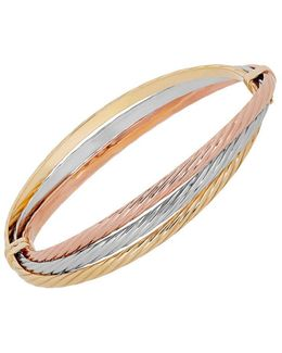 14k Yellow Gold, White Gold And Rose Gold Bangle Bracelet