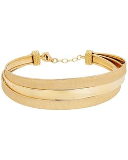 14k Yellow Gold Satin Polished Triple Twisted Cuff Bracelet