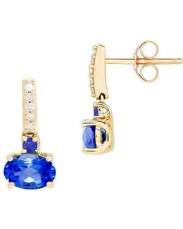 Sapphire And Diamond 14k Yellow Gold Drop Earrings