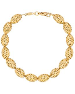 14k Yellow Gold Oval Beaded Bracelet