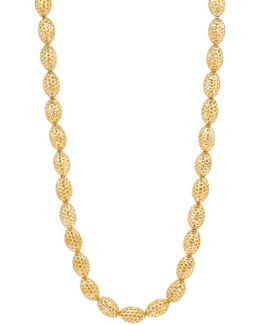 14k Yellow Gold Oval Beaded Necklace