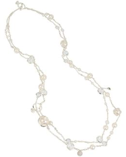 Crystal & Faux Pearl Two-row Necklace