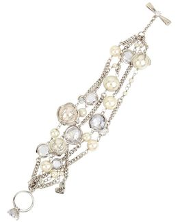 Crystal & Faux Pearl Multi-row Toggle Bracelet