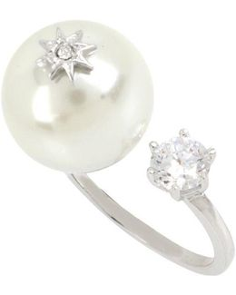 Stone & Faux Pearl Open Ring