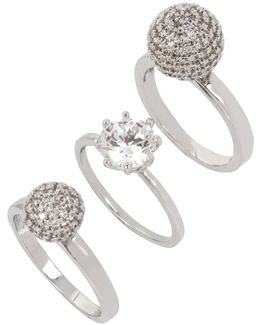 Pave Ball & Stone Ring/set Of 3