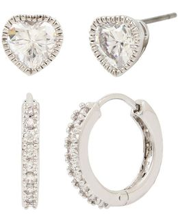 Heart Stud & Pave Huggie Hoops Earring Set