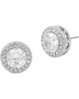 Blue By Cubic Zirconia Pavé Halo Round Stud Earrings
