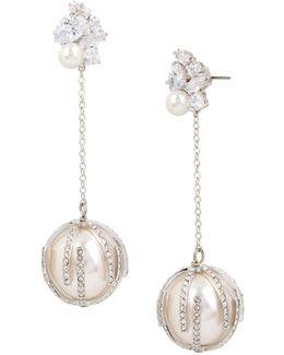 Stone Cluster Faux Pearl Linear Earrings