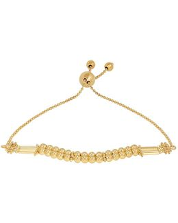14k Yellow Gold Polished Fancy Beaded Bolo Bracelet