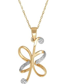 14k Pdc Yellow Gold And Rhodium Floral Pendant Necklace