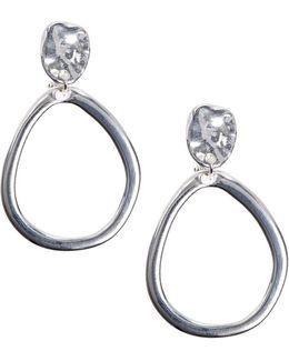 Drop Clip Silvertone Drop Earrings