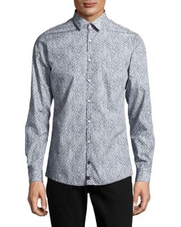 Casual Slim-fit Point-collar Cotton Shirt