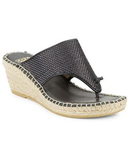 Addie Woven Leather Espadrille Wedge Sandals