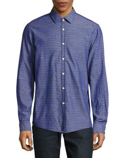 Casual Modern-fit Textured Woven Shirt