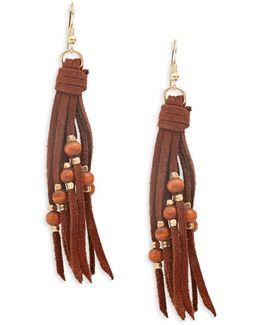 Beaded Suede Tassel Earrings