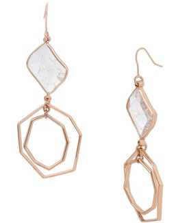 Under Construction Crackled Stone Geometric Double Drop Earrings