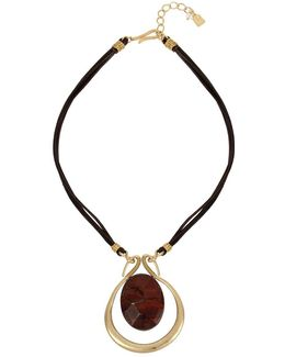 Tiger Eye Circle Pendant Leather Necklace