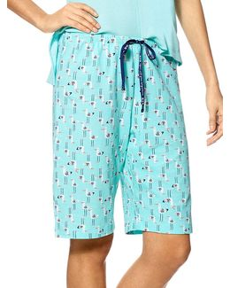 Seagull-print Cotton Bermuda Shorts