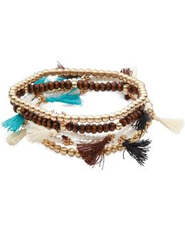 Multi-row Beaded Tassel Bracelet Set