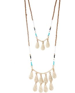 Double Tiered Teardrop Charm Necklace