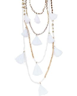 Tiered Tassel And Beaded Necklace