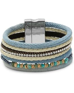 Multi-row Denim And Stone Accented Bracelet