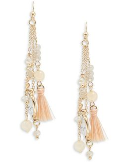 Three-tiered Stone Accented Tassel Drop Earrings