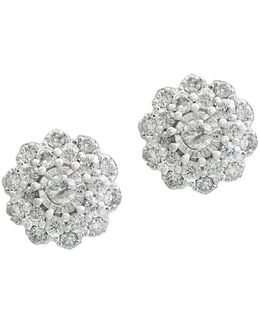 Bouquet Diamond And 14k White Gold Earrings
