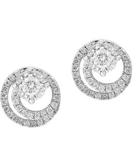 Pave' Classica Diamond And 14k White Gold Earrings