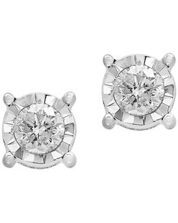 Pavé Classica Diamond And 14k White Gold Stud Earrings