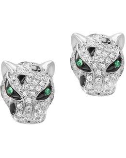 Signature Diamond, Tsavorite 14k White Gold Earrings